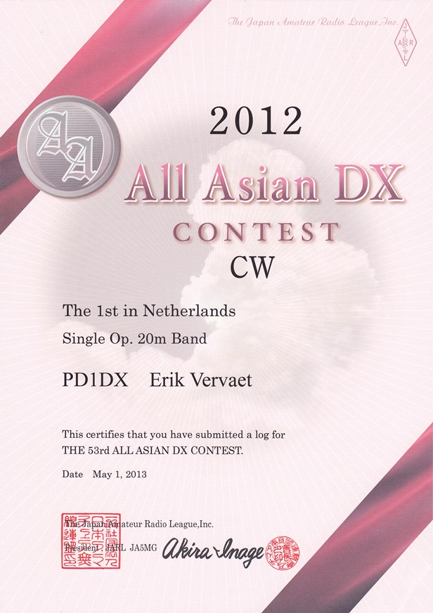 2012 ALL ASIAN DX SO 20meter cw 2012