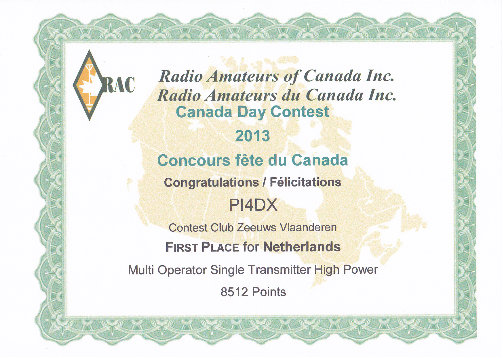 2013 Canadian Day Contest PI4DX